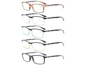 Eyekepper 5-Pack Reading Glasses Clear Vision Stylish Look Unique Hinges Included Computer Glasses +2.5