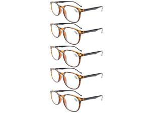 Eyekepper 5-Pack Spring Hinges Classic Reading Glasses Amber +1.75