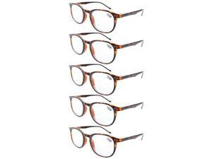 Eyekepper 5-Pack Spring Hinges Classic Reading Glasses Tortoise +1.75