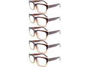 Eyekepper 5-pack Spring Hinges Classic Large Square Frame Reading Glasses Brown +3.5