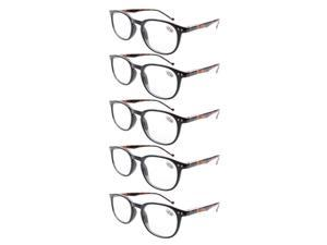 Eyekepper 5-Pack Spring Hinges Classic Reading Glasses Black Frame Tortoise Arm +1.75