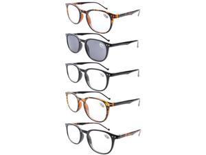 Eyekepper 5-Pack Spring Hinges Classic Reading Glasses Includes Sun Readers +1.75
