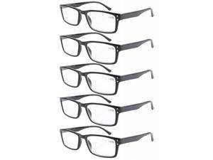 Eyekepper Spring Hinge 5-pack Retro Style Reading Glasses Black +3.0