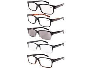 Eyekepper 5-pack Spring Hinges Vintage Reading Glasses Men Includes Sun Readers +2.00