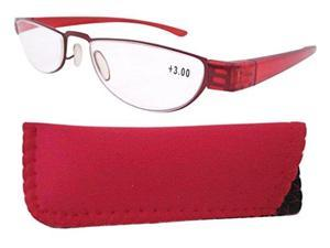 Eyekepper Stainless Steel Frame Plastic Temple Women's Reading Glasses Red+3.5