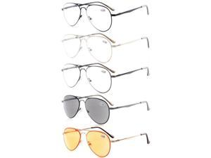Eyekepper 5-pack Quality Spring Temples Metal Reading Glasses Pilot Style+3.5