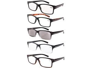 Eyekepper 5-pack Spring Hinges Vintage Reading Glasses Men Includes Sun Readers +1.25