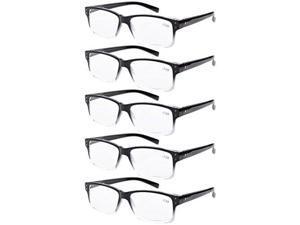Eyekepper 5-pack Spring Hinges Vintage Reading Glasses Men Readers Black-clear Frame +3.0