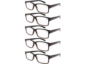 Eyekepper 5-pack Spring Hinges Vintage Reading Glasses Men Readers Black-Yellow Tortoise +1.25