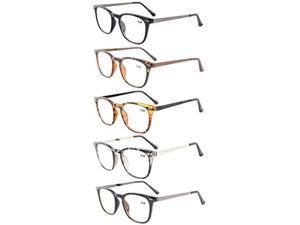 Eyekepper 5-Pack Retro Square Plastic Frame Metal Arms Reading Glasses+3.5