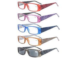 Eyekepper 5-Pack Spring Hinges Polka Dots Patterned Temples Rectangular Reading Glasses+2.75