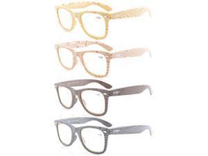 Eyekepper 4-pack Readers Bamboo Wood Design Classic Glasses Computer Reading Glasses +1.25