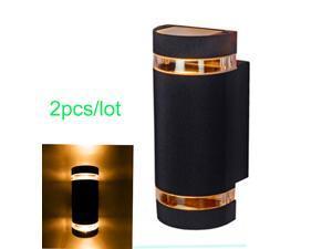 JIAWEN 2pcs/lot Waterproof 2 x 4W Warm White LED wall light - Black (Ac85-265V)