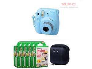 Fujifilm Instax Mini 8 Instant Film Camera (Blue) with 100 Fujifilm Instax Mini Instant Films and Nifty Mini Zippered Camera Black Case