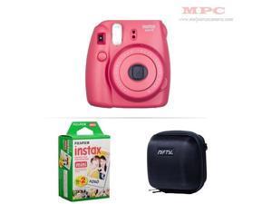 Fujifilm Instax Mini 8 Instant Film Camera (Raspberry) with 20 Fujifilm Instax Mini Instant Films and Nifty Mini Zippered Camera Black Case