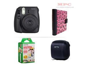 Fujifilm Instax Mini 8 Instant Black Camera - Nifty Mini Zippered Camera Black Case - Nifty Instax Mini Photo Pink Album - 20 Fujifilm Instax Mini Instant Films