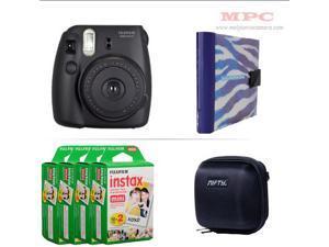 Fujifilm Instax Mini 8 Instant Black Camera - Nifty Mini Zippered Camera Black Case - Nifty Instax Mini Photo Blue Zebra Album - 80 Fujifilm Instax Mini Instant Films
