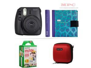 Fujifilm Instax Mini 8 Instant Black Camera - Nifty Mini Zippered Camera Red Case - Nifty Instax Mini Photo Blue Purple Album - 20 Fujifilm Instax Mini Instant Films