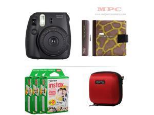 Fujifilm Instax Mini 8 Instant Black Camera - Nifty Mini Zippered Camera Red Case - Nifty Instax Mini Photo Yellow Album - 60 Fujifilm Instax Mini Instant Films