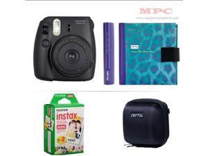 Fujifilm Instax Mini 8 Instant Blue Camera - Nifty Mini Zippered Camera Black Case - Nifty Instax Mini Photo Blue Purple Album - 20 Fujifilm Instax Mini Instant Films