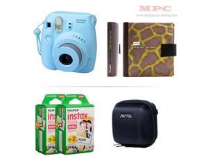 Fujifilm Instax Mini 8 Instant Blue Camera - Nifty Mini Zippered Camera Black Case - Nifty Instax Mini Photo Yellow Album - 40 Fujifilm Instax Mini Instant Films