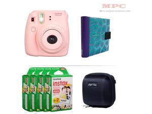 Fujifilm Instax Mini 8 Instant Pink Camera - Nifty Mini Zippered Camera Black Case - Nifty Instax Mini Photo Blue Purple Album - 80 Fujifilm Instax Mini Instant Films