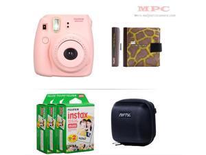 Fujifilm Instax Mini 8 Instant Pink Camera - Nifty Mini Zippered Camera Black Case - Nifty Instax Mini Photo Yellow Album - 60 Fujifilm Instax Mini Instant Films