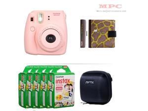 Fujifilm Instax Mini 8 Instant Pink Camera - Nifty Mini Zippered Camera Black Case - Nifty Instax Mini Photo Yellow Album - 100 Fujifilm Instax Mini Instant Films
