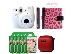 Fujifilm Instax Mini 8 White Camera - Nifty Mini Zippered Camera Red Case - Nifty Instax Mini Photo Pink Album - 100 Fujifilm Instax Mini Instant Films