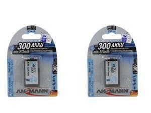 2x Ansmann 5035453 Ansmann 9V 300 mAH rechargeable batteries by Ansmann
