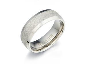 Gemini Groom or Bride Plain Titanium Wedding Anniversary Ring width 8mm Size 12.75 Valentine's Day Gift