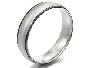 Gemini Unisex Two Tone Black Mix Silver Anniversary Wedding Titanium Ring width 4mm US Size 8.5 Valentine's Day Gift