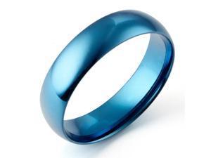 Gemini Men's Dome Blue Promise Couple Wedding Titanium Ring width 6mm US Size 7.25 Valentine's Day Gift