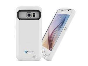 Galaxy S6 Battery Case: Stalion® Stamina Rechargeable Extended Charging Case (Ceramic White) 3500mAh Protective Charger Cover with LED Charge Indicator Light