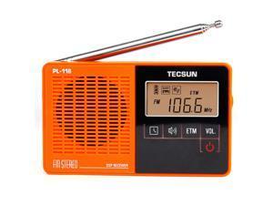 TECSUN PL-118 Radio DSP FM Radio Stereo Portable Professional Radio Receiver ETM Clock Alarm Orange