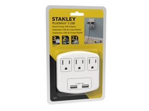 Stanley 30407 PlugMax 3 USB, 3-Outlet Wall Tap with 2 USB Charging Ports (2.1A Total)