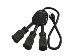 Stanley 31495 Mini Squid USB, 3-Outlet Flexible Adapter with 2 USB Charging Ports (2.1A Total)