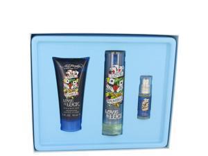 Love & Luck by Christian Audigier for Men - Gift Set -- 1.7 oz Eau De Toilette Spray + 3 oz Hair & Body Wash + .25 oz Mini EDT