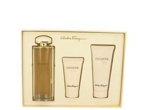 Emozione by Salvatore Ferragamo for Women - Gift Set -- 3.1 oz Eau De Parfum Spray + 1.7 oz Body Lotion + 3.4 oz Shower Gel
