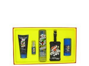 Love & Luck by Christian Audigier for Men - Gift Set -- 3.4 oz Eau De Toilette Spray + 3 oz Hair & Body Wash + 2.75 oz Deodorant Stick + .25 oz Mini EDT Spray + Luggage Tag
