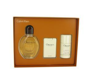 OBSESSION by Calvin Klein for Men - Gift Set -- 4 oz Eau De Toilette Spray + .67 oz Min EDT Spray + 2.6 oz Deodorant Stick