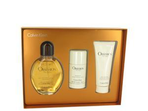 OBSESSION by Calvin Klein for Men - Gift Set -- 4 oz Eau De Toilette Spray + 3.4 oz After Shave Balm + 2.6 oz Deodorant Stick