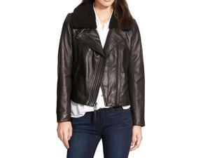 Michael Kors Motorcycle Leather Jacket with Removable Fur Collar
