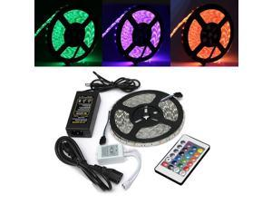 5M 5050 RGB Waterproof 300 LED Flexible Rope Strip Light + 24 Key Controller + 12V Power Adapter-US adapter