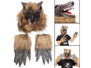 Full Head Animal Wolf Mask Claw Glove Latex Costume Halloween Prop Cosplay Party