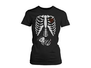 Halloween Pregnant Skeleton Pirate Baby X-Ray Shirt Maternity Themed Funny Shirt  WOMEN-2XLARGE