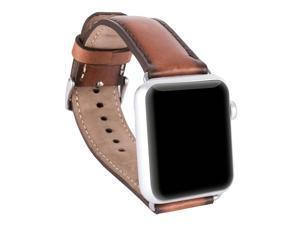 Burkley Watch Genuine Padded Leather Band for Apple Watch 38mm in Special Mixed Burned
