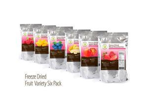 Emergency Freeze Dried Fruit Assortment: Long Term Food Storage Supply: Pineapple, Banana, Apple, Strawberry, Raspberry & Blueberry (Pack of 6)