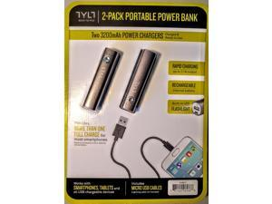 TYLT 3,200mAh Portable Power Bank Cell Phone and Tablet Charger 2-Pack
