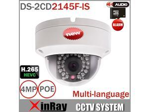 2016 New Hikvision 4MP IP Camera DS-2CD2145F-IS H.265 IP POE Outdoor Dome Camera Waterproof Vandal-proof  Webcam 1080P 2.8MM Lens Camera